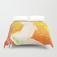 erotic Duvet Covers featuring Floral Beauty  by Stevyn Llewellyn