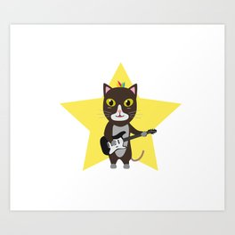 Rock-Music Cat Art Print