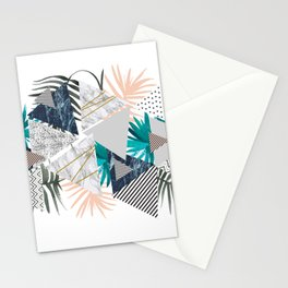 Abstract of geometric patterns with plants and marble II Stationery Cards