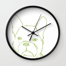 Sketched Frenchie (Green on White) Wall Clock