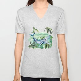 Watercolor Under Sea Collection: Whale Unisex V-Neck