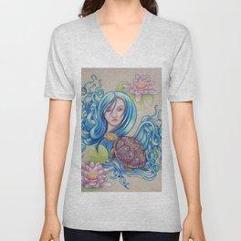 Blue Nova, Turtle Colored Pencil Drawing Unisex V-Neck