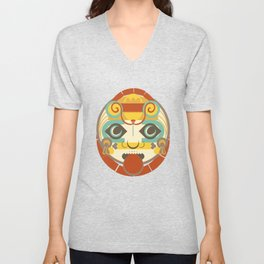 Mayan Sun God - Kinich Ahau Unisex V-Neck