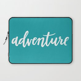 Adventure Calligraphy Travel Lettering Teal Laptop Sleeve
