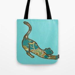 I love you Kitten in Blue-Green Tote Bag