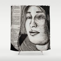 bianca green Shower Curtains featuring Bianca Davri by Anca Chelaru