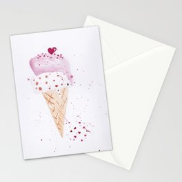 Ice cream Love watercolor illustration summer love pink strawberry Stationery Cards
