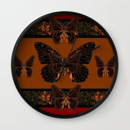 BLACK  MONARCH BUTTERFLIES,COFFEE BROWN-BURGUNDY ART Wall Clock