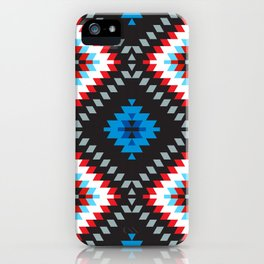 Colorful patchwork mosaic oriental kilim rug with traditional folk geometric ornament. Tribal style iPhone Case