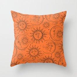 Orange Magic Celestial Sun Moon Stars Throw Pillow
