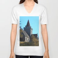 scotland V-neck T-shirts featuring Crathie Church, Balmoral, Scotland by Phil Smyth