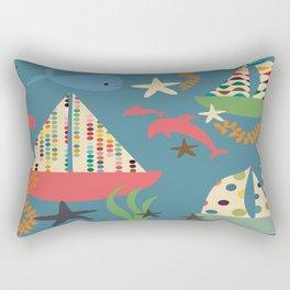boat blue Rectangular Pillow