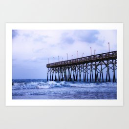 Waves against the Pier Art Print