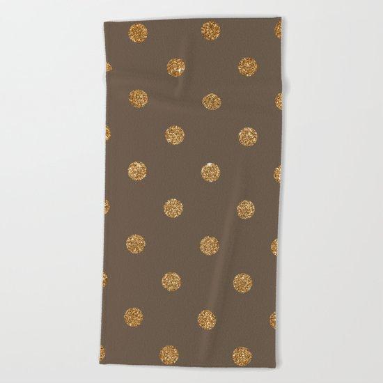 Brown Gold Glitter Dots Beach Towel