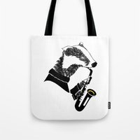 saxophone Tote Bags featuring Badger Saxophone by mailboxdisco