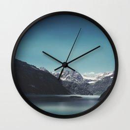 turquoise mountain lake Wall Clock