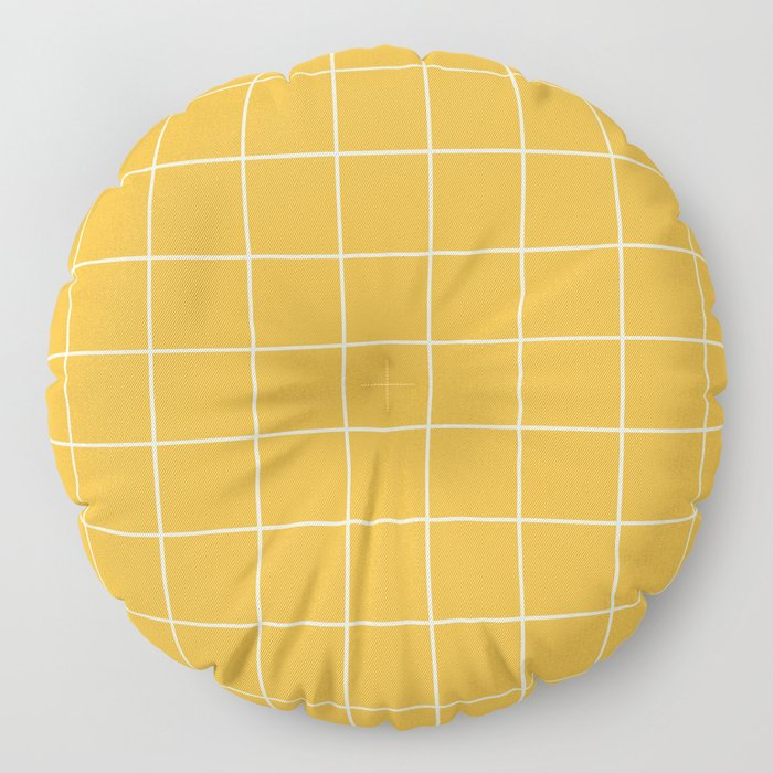 9x Yellow Grid Lines Floor Pillow