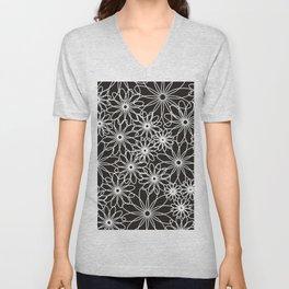 White flowers on black Unisex V-Neck