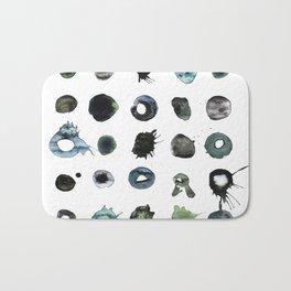 Blue Splats and Blobs. Watercolor and Ink. Abstract Art, Contemporary Art, Square Print, Minimal. Bath Mat
