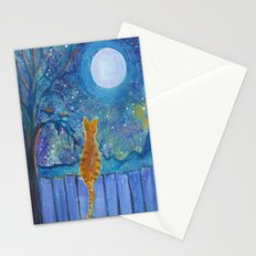 Cat on a fence in the moonlight Stationery Cards