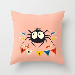 Cute Spider wearing trainers Throw Pillow