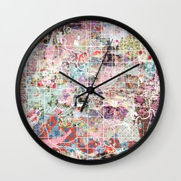Des Moines map Wall Clock