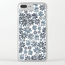 Indigo Flowers Clear iPhone Case