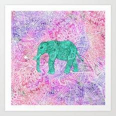 Elephant in Paisley Dream Art Print