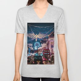 London Christmas Lights (Color) Unisex V-Neck