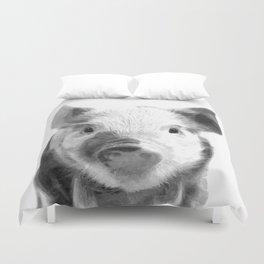 Black and white pig portrait Duvet Cover