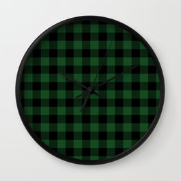 Jumbo Forest Green and Black Rustic Cowboy Cabin Buffalo Check Wall Clock