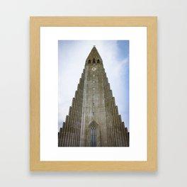 Looking up at Hallgrimskirkja Church in Downtown Reykjavik, Iceland Framed Art Print