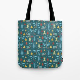 Little Bugs and Mini Beasts on Teal Tote Bag