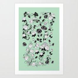 Elegant Pale green Rose Graphic Pattern Art Print