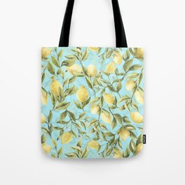 mediterranean summer lemon branches on turquoise Tote Bag