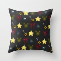 kingdom hearts Throw Pillows featuring Kingdom Hearts Pattern by Caleb Cowan