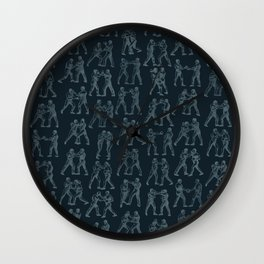 Round One STEEL BLUE / Vintage boxers Wall Clock