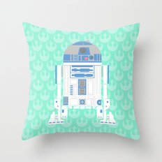 R2-D2 on Mint Rebellion Throw Pillow