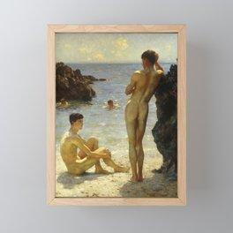 Lovers of the Sun by Henry Scott Tuke Framed Mini Art Print