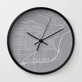 Billings Map, Montana USA - Pewter Wall Clock