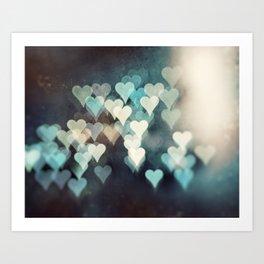 Heart Love Photography, Abstract Teal Turquoise Aqua Black Hearts Art Print