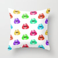 lip Throw Pillows featuring Lip Print by Vicky Ink.