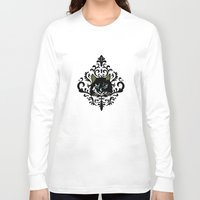 damask Long Sleeve T-shirts featuring cat damask by Andi Bird