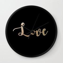 love gold glitter on black Wall Clock