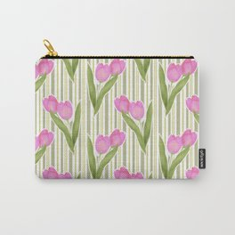Retro. Pink tulips on a green striped background . Carry-All Pouch