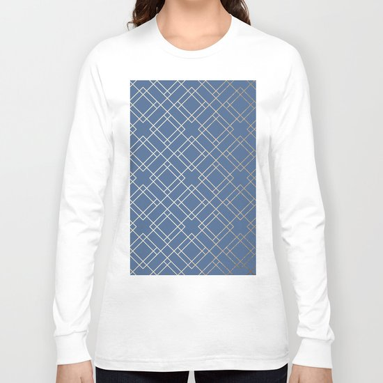 Simply Mid-Century in White Gold Sands on Aegean Blue Long Sleeve T-shirt