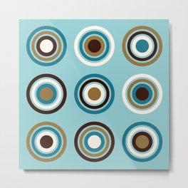 Circles in Rings Teals Gold Brown Cream Metal Print