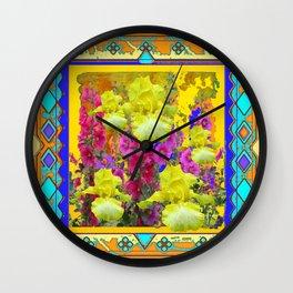 Yellow Iris Flower garden Western Art Design. Wall Clock