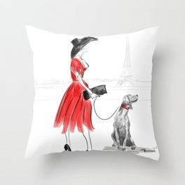 WEIMARANER IN PARIS Throw Pillow