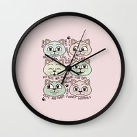 kittens Wall Clocks featuring Kittens by Artificial primate